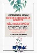 """23 de octubre: Entrega de Premios de la Biblioteca + Concierto Poético: """"Juan Ramón Jiménez y los Poetas del Exilio"""", por Domingo Henares"""
